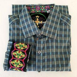 Robert Graham Plaid Embroidered Flip Cuff Shirt